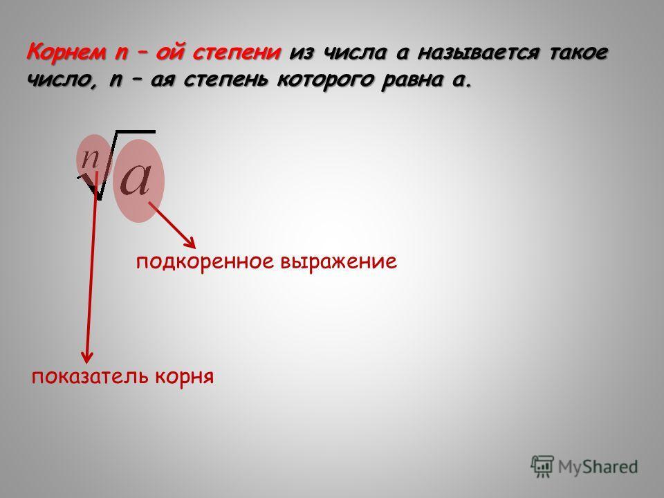 Корнем n – ой степени из числа а называется такое число, n – ая степень которого равна а. подкоренное выражение показатель корня