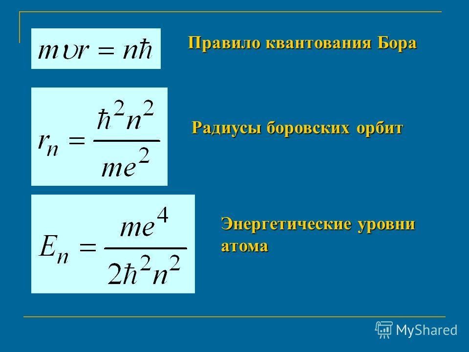Правило квантования Бора Радиусы боровских орбит Энергетические уровни атома