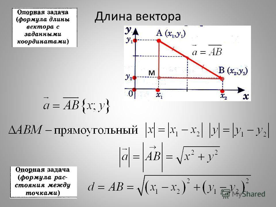 Длина вектора М