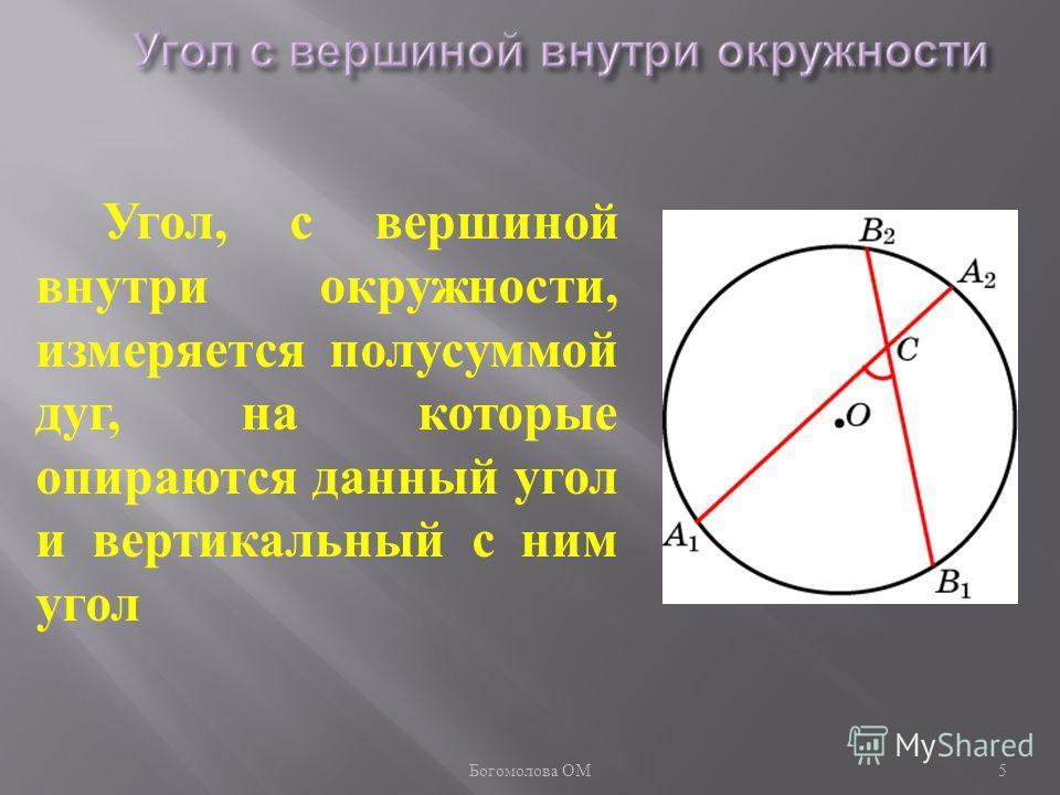 Угол, с вершиной внутри окружности, измеряется полусуммой дуг, на которые опираются данный угол и вертикальный с ним угол 5 Богомолова ОМ