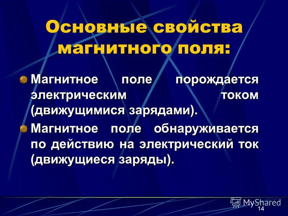 14 Основные свойства магнитного поля: Магнитное поле порождается электрическим током (движущимися зарядами). Магнитное поле обнаруживается по действию на электрический ток (движущиеся заряды).