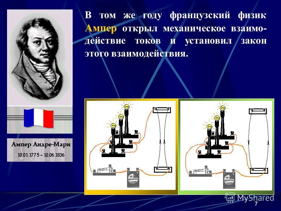 7 В том же году французский физик Ампер открыл механическое взаимо- действие токов и установил закон этого взаимодействия.