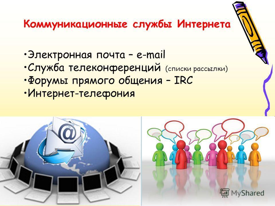 Коммуникационные службы Интернета Электронная почта – e-mail Служба телеконференций (списки рассылки) Форумы прямого общения – IRC Интернет-телефония