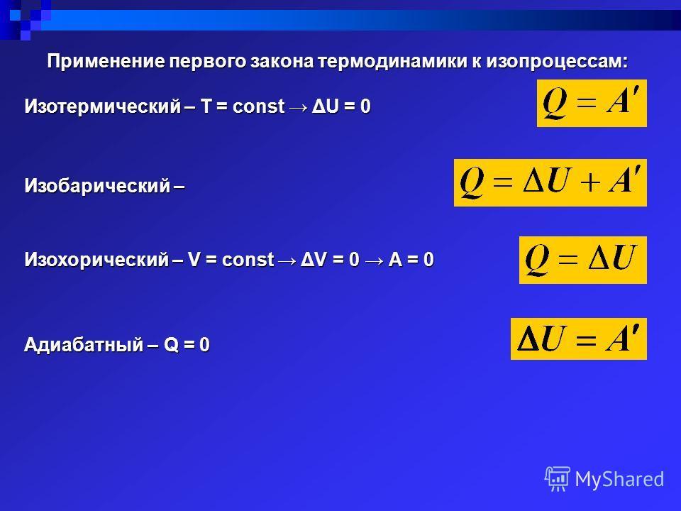 Применение первого закона термодинамики к изопроцессам: Изотермический – Т = соnst ΔU = 0 Изобарический – Изохорический – V = соnst ΔV = 0 А = 0 Адиабатный – Q = 0
