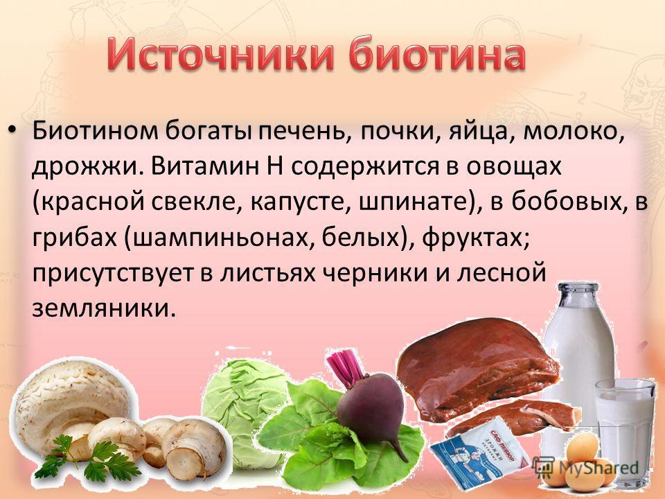 Биотином богаты печень, почки, яйца, молоко, дрожжи. Витамин H содержится в овощах (красной свекле, капусте, шпинате), в бобовых, в грибах (шампиньонах, белых), фруктах; присутствует в листьях черники и лесной земляники.