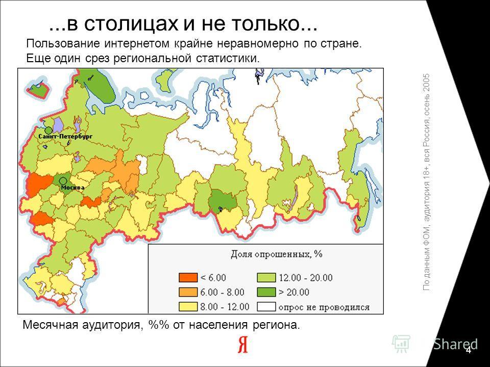 4 По данным ФОМ, аудитория 18+, вся Россия, осень 2005 Месячная аудитория, % от населения региона....в столицах и не только... Пользование интернетом крайне неравномерно по стране. Еще один срез региональной статистики.