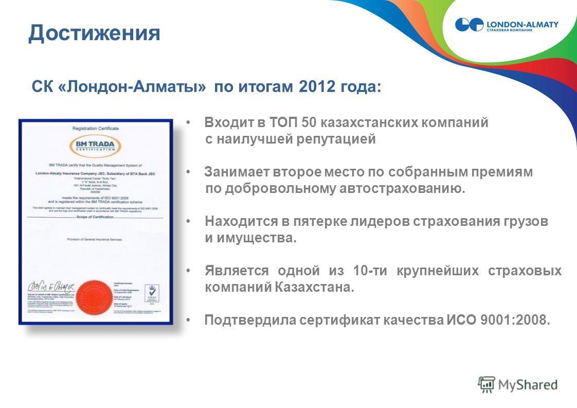 Достижения Входит в ТОП 50 казахстанских компаний с наилучшей репутацией Занимает второе место по собранным премиям по добровольному автострахованию. Находится в пятерке лидеров страхования грузов и имущества. Является одной из 10-ти крупнейших страх