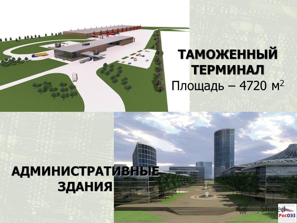 ТАМОЖЕННЫЙ ТЕРМИНАЛ ТАМОЖЕННЫЙ ТЕРМИНАЛ Площадь – 4720 м 2 АДМИНИСТРАТИВНЫЕ ЗДАНИЯ