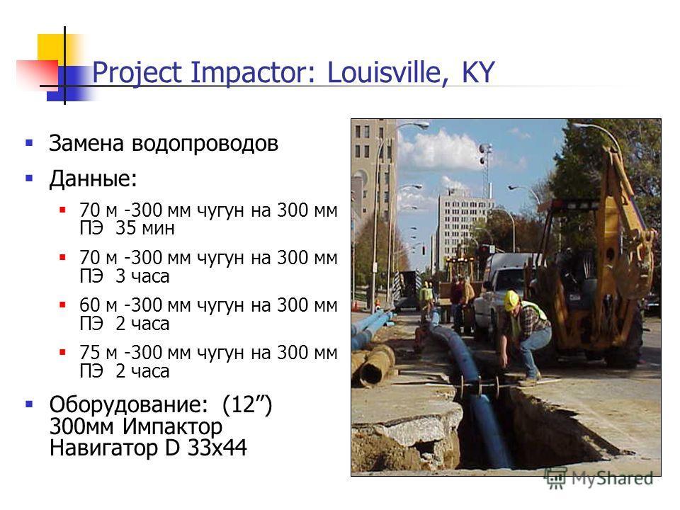 Замена водопроводов Данные: 70 м -300 мм чугун на 300 мм ПЭ 35 мин 70 м -300 мм чугун на 300 мм ПЭ 3 часа 60 м -300 мм чугун на 300 мм ПЭ 2 часа 75 м -300 мм чугун на 300 мм ПЭ 2 часа Оборудование: (12) 300мм Импактор Навигатор D 33x44 Project Impact