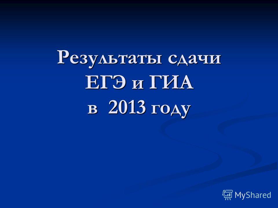 Результаты сдачи ЕГЭ и ГИА в 2013 году