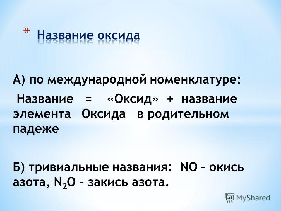 А) по международной номенклатуре: Название = «Оксид» + название элемента Оксида в родительном падеже Б) тривиальные названия: NO – окись азота, N 2 O – закись азота.