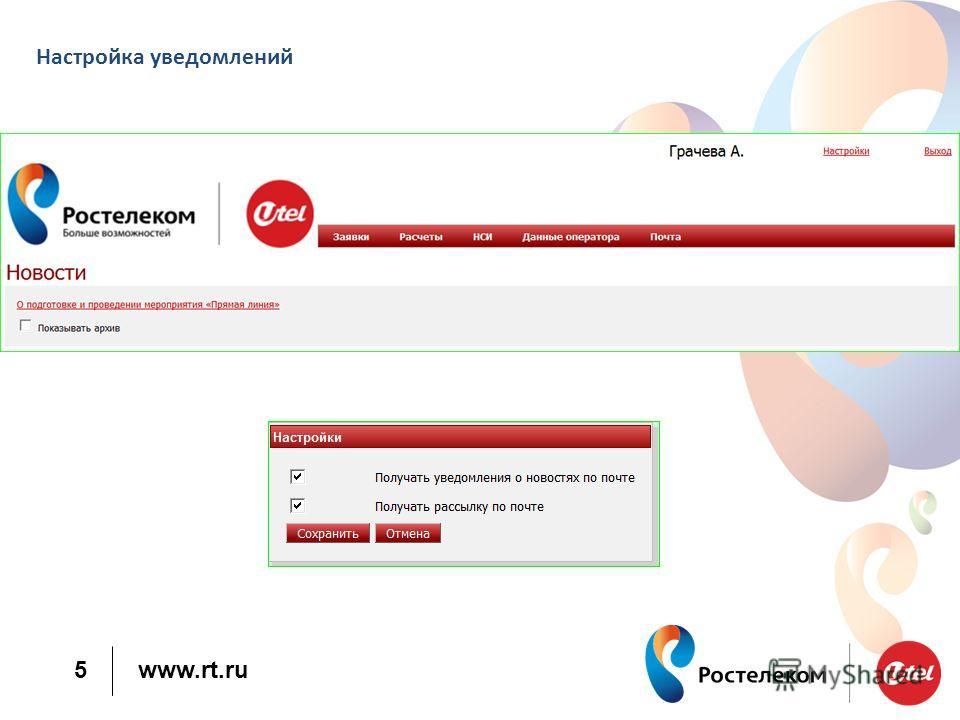 www.rt.ru 5 Настройка уведомлений