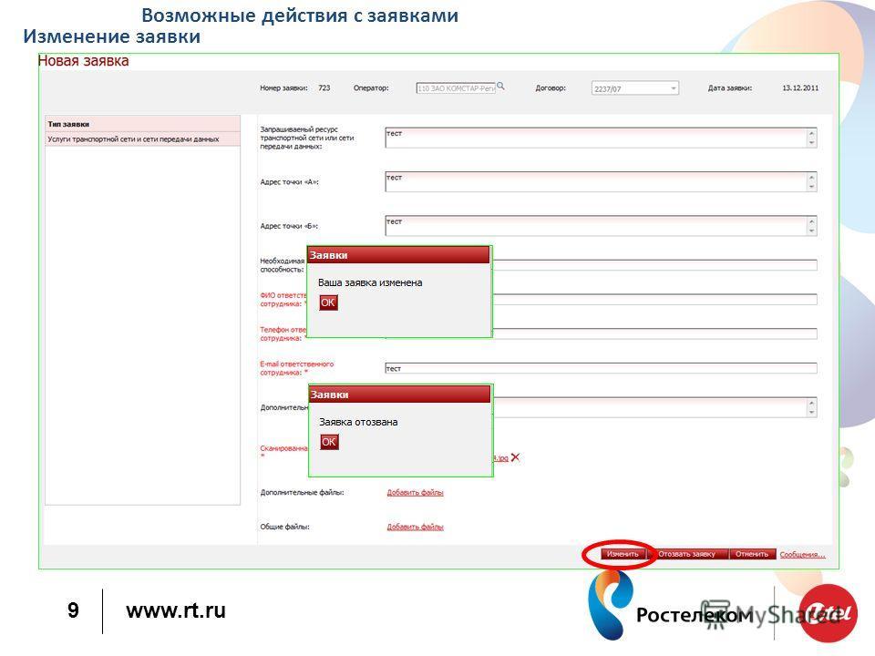 www.rt.ru 9 Возможные действия с заявками Изменение заявки