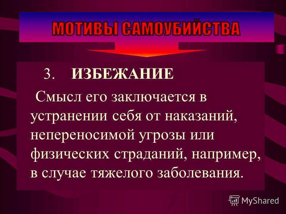 3. ИЗБЕЖАНИЕ Смысл его заключается в устранении себя от наказаний, непереносимой угрозы или физических страданий, например, в случае тяжелого заболевания.