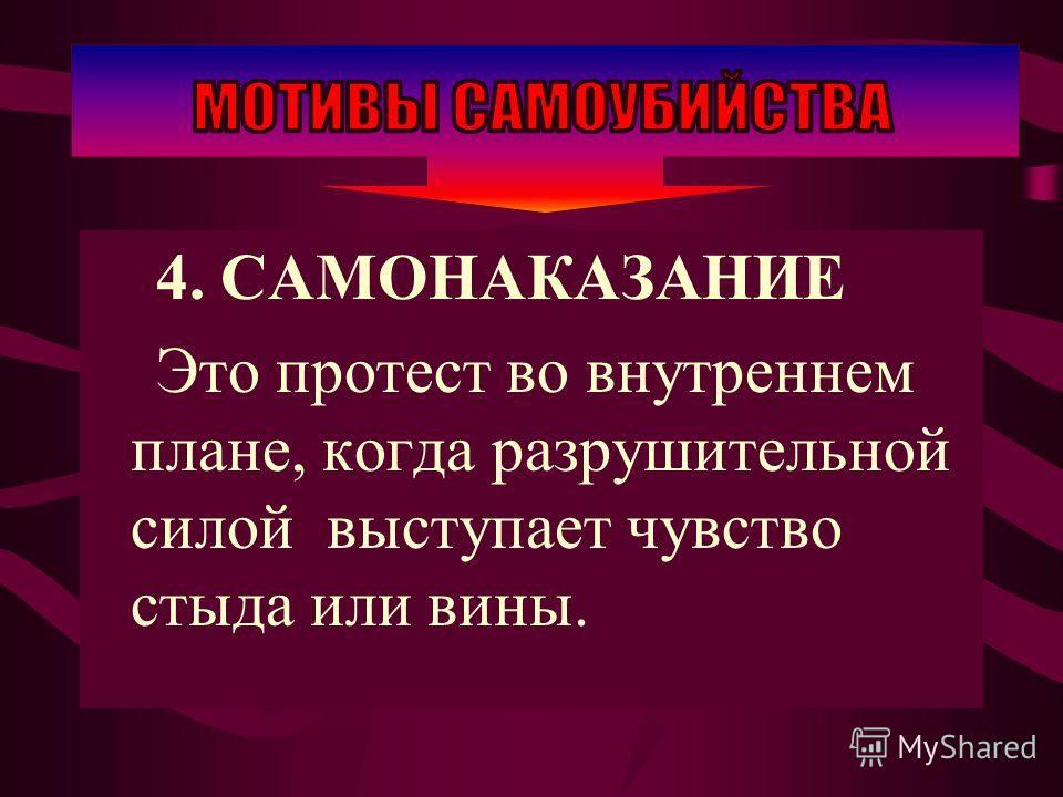 4. САМОНАКАЗАНИЕ Это протест во внутреннем плане, когда разрушительной силой выступает чувство стыда или вины.