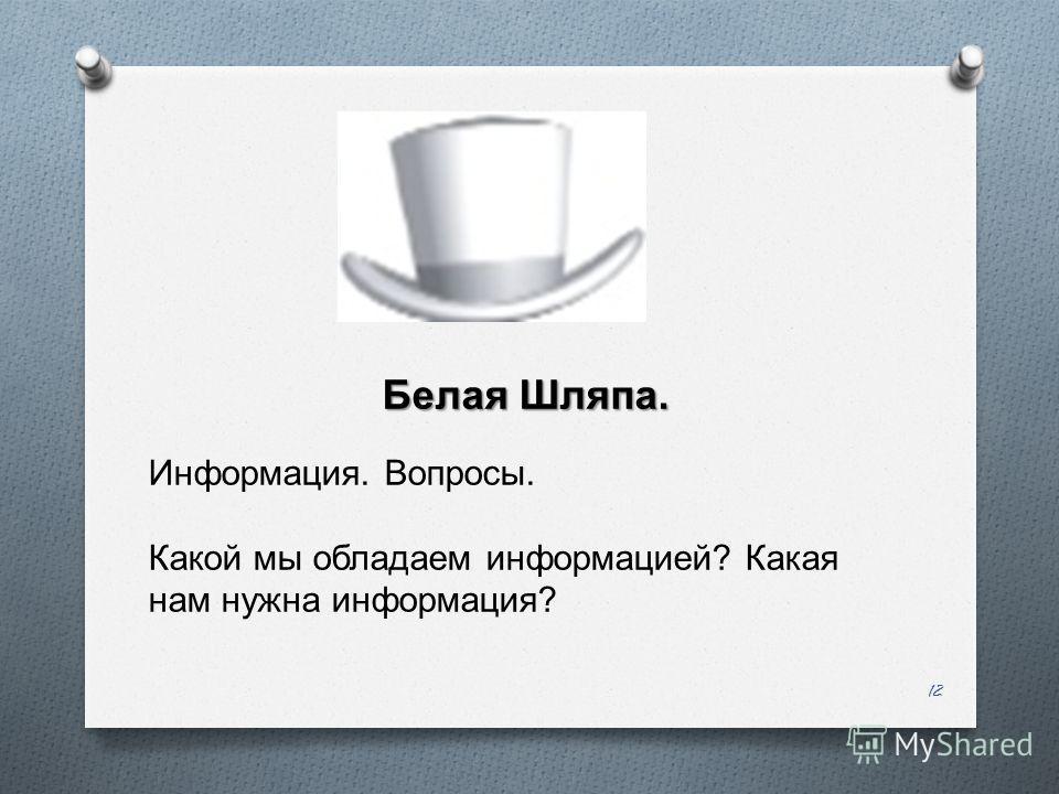 12 Белая Шляпа. Информация. Вопросы. Какой мы обладаем информацией ? Какая нам нужна информация ?