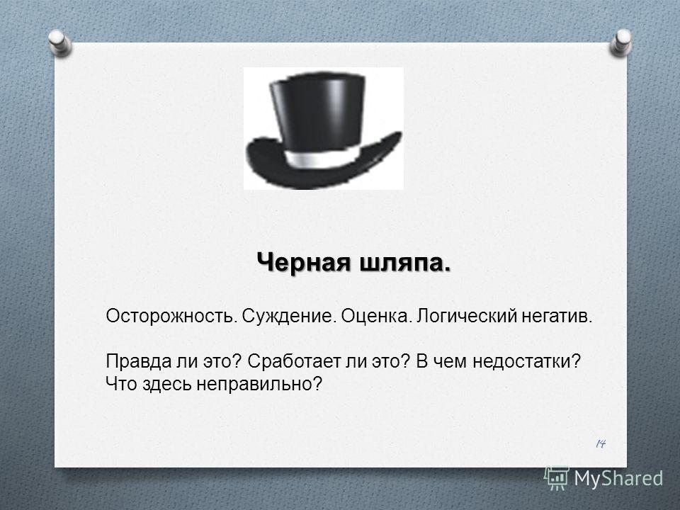 14 Черная шляпа. Осторожность. Суждение. Оценка. Логический негатив. Правда ли это ? Сработает ли это ? В чем недостатки ? Что здесь неправильно ?