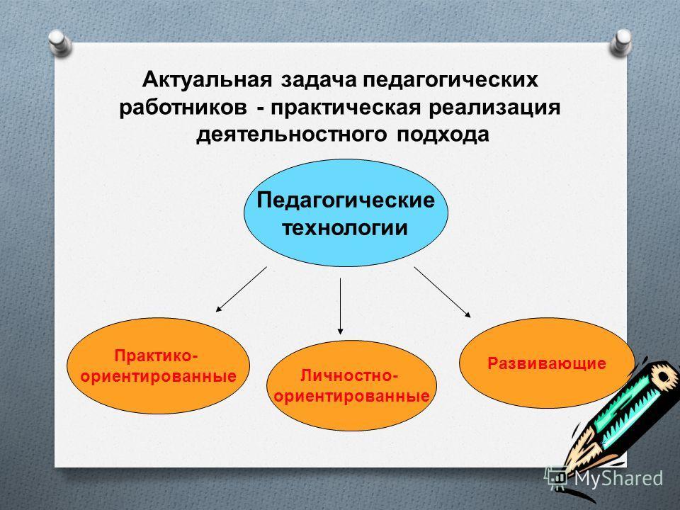 Актуальная задача педагогических работников - практическая реализация деятельностного подхода Педагогические технологии Личностно - ориентированные Практико - ориентированные Развивающие 4