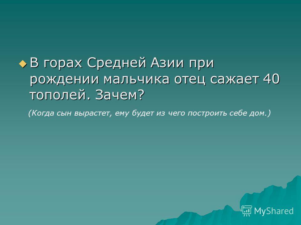 В горах Средней Азии при рождении мальчика отец сажает 40 тополей. Зачем? В горах Средней Азии при рождении мальчика отец сажает 40 тополей. Зачем? (Когда сын вырастет, ему будет из чего построить себе дом.)