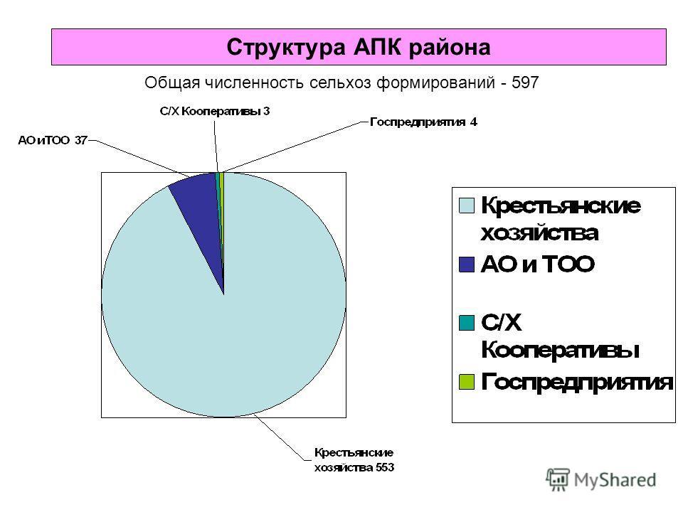 Структура АПК района Общая численность сельхоз формирований - 597