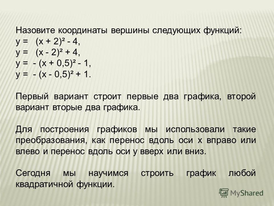 Назовите координаты вершины следующих функций: у = (х + 2)² - 4, у = (х - 2)² + 4, у = - (х + 0,5)² - 1, у = - (х - 0,5)² + 1. Первый вариант строит первые два графика, второй вариант вторые два графика. Для построения графиков мы использовали такие