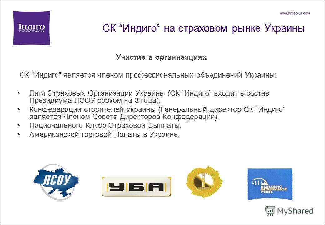СК Индиго на страховом рынке Украины Участие в организациях CК Индиго является членом профессиональных объединений Украины: Лиги Страховых Организаций Украины (СК Индиго входит в состав Президиума ЛСОУ сроком на 3 года). Конфедерации строителей Украи