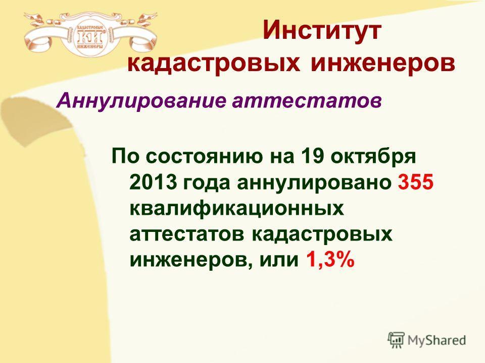 Институт кадастровых инженеров По состоянию на 19 октября 2013 года аннулировано 355 квалификационных аттестатов кадастровых инженеров, или 1,3% Аннулирование аттестатов