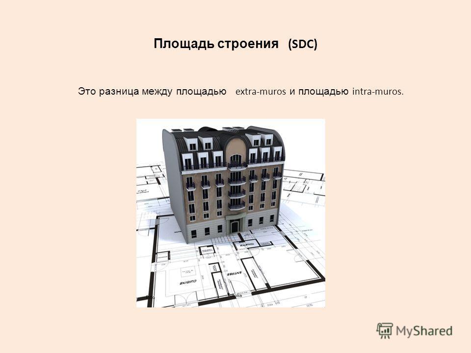 Площадь строения (SDC) Это разница между площадью extra-muros и площадью intra-muros.