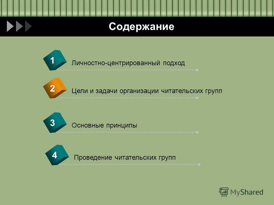 Содержание Цели и задачи организации читательских групп 2 Личностно-центрированный подход 1 Основные принципы 3 Проведение читательских групп 4