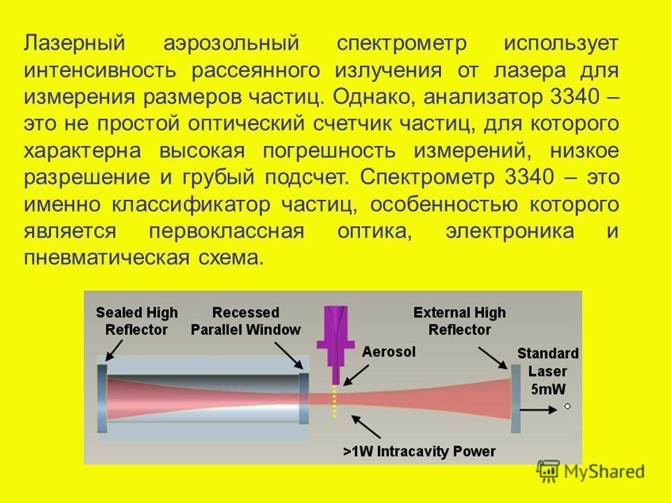 Лазерный аэрозольный спектрометр использует интенсивность рассеянного излучения от лазера для измерения размеров частиц. Однако, анализатор 3340 – это не простой оптический счетчик частиц, для которого характерна высокая погрешность измерений, низкое
