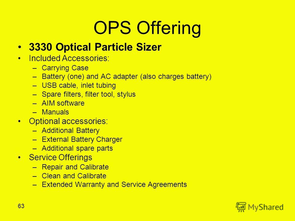OPS Offering 3330 Optical Particle Sizer Included Accessories: –Carrying Case –Battery (one) and AC adapter (also charges battery) –USB cable, inlet tubing –Spare filters, filter tool, stylus –AIM software –Manuals Optional accessories: –Additional B