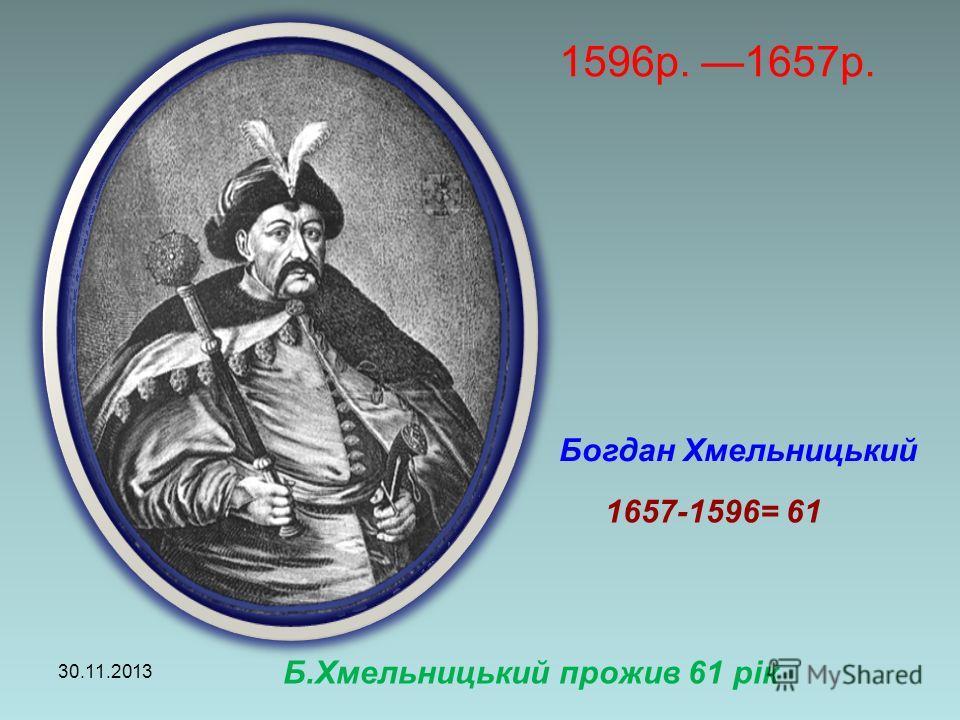 1596р. 1657р. 30.11.2013 Богдан Хмельницький 1657-1596= 61 Б.Хмельницький прожив 61 рік