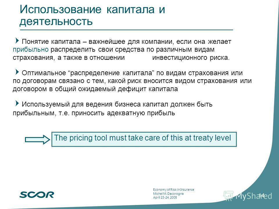 Economy of Risk in Insurance Michel M. Dacorogna April 23-24, 2008 14 Использование капитала и деятельность Понятие капитала – важнейшее для компании, если она желает прибыльно распределить свои средства по различным видам страхования, а также в отно