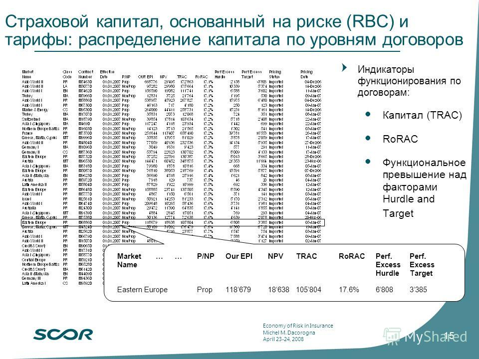 Economy of Risk in Insurance Michel M. Dacorogna April 23-24, 2008 15 Страховой капитал, основанный на риске (RBC) и тарифы: распределение капитала по уровням договоров Market……P/NPOur EPINPVTRACRoRACPerf. Perf. NameExcessExcess HurdleTarget Eastern