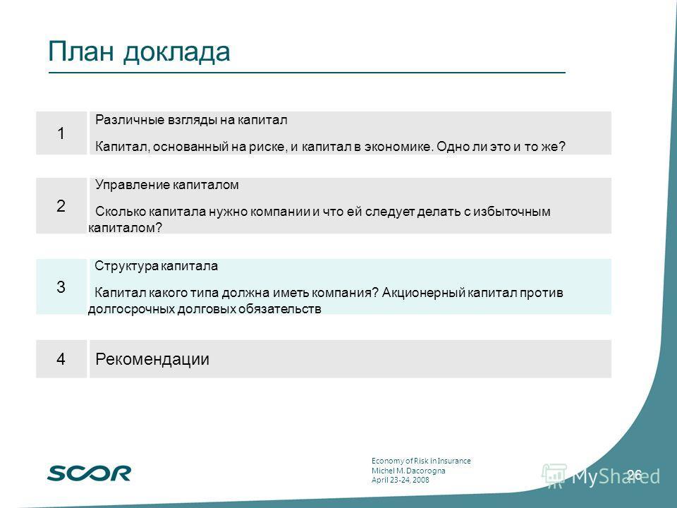 Economy of Risk in Insurance Michel M. Dacorogna April 23-24, 2008 26 План доклада 1 Различные взгляды на капитал Капитал, основанный на риске, и капитал в экономике. Одно ли это и то же? 2 Управление капиталом Сколько капитала нужно компании и что е