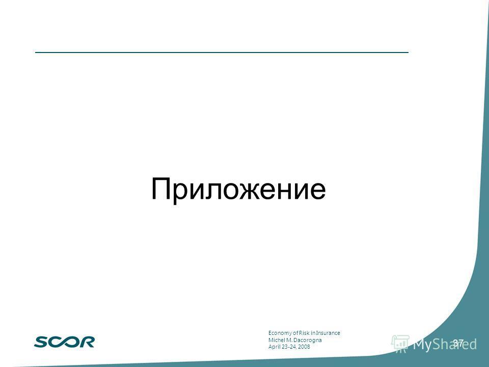 Economy of Risk in Insurance Michel M. Dacorogna April 23-24, 2008 37 Приложение
