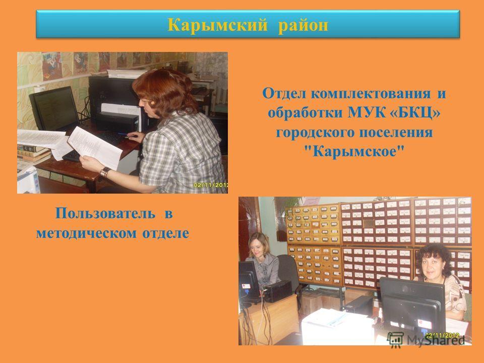 Карымский район Пользователь в методическом отделе Отдел комплектования и обработки МУК «БКЦ» городского поселения Карымское