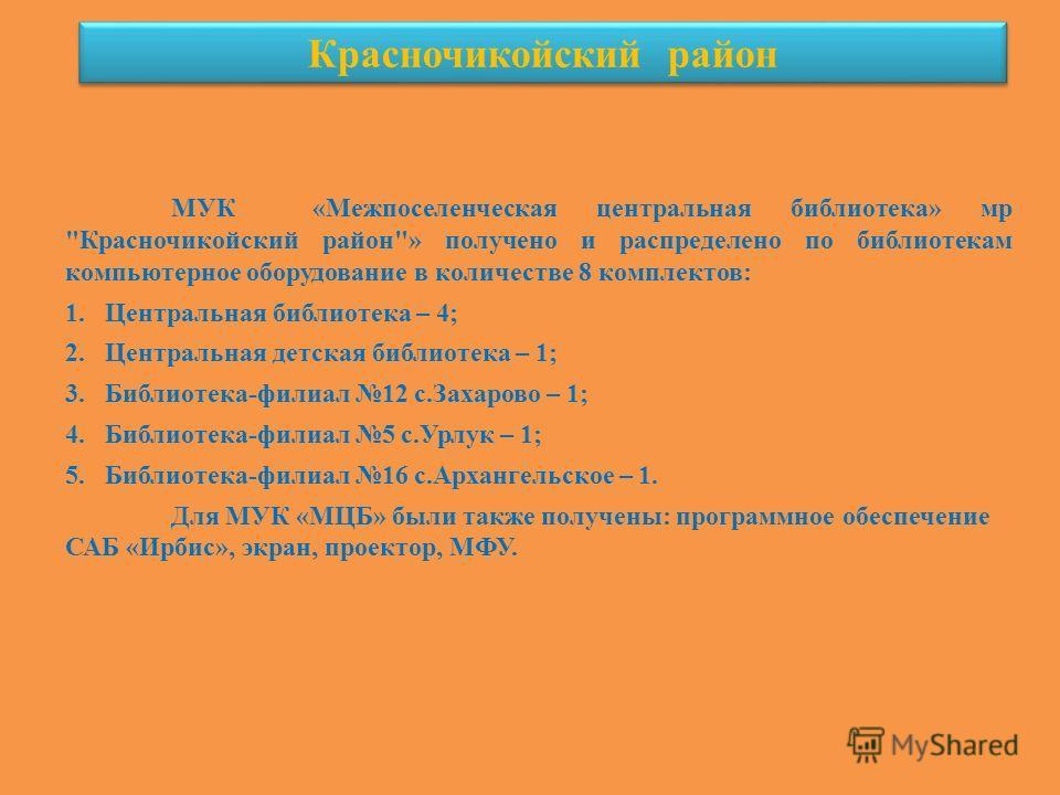 Красночикойский район МУК «Межпоселенческая центральная библиотека» мр