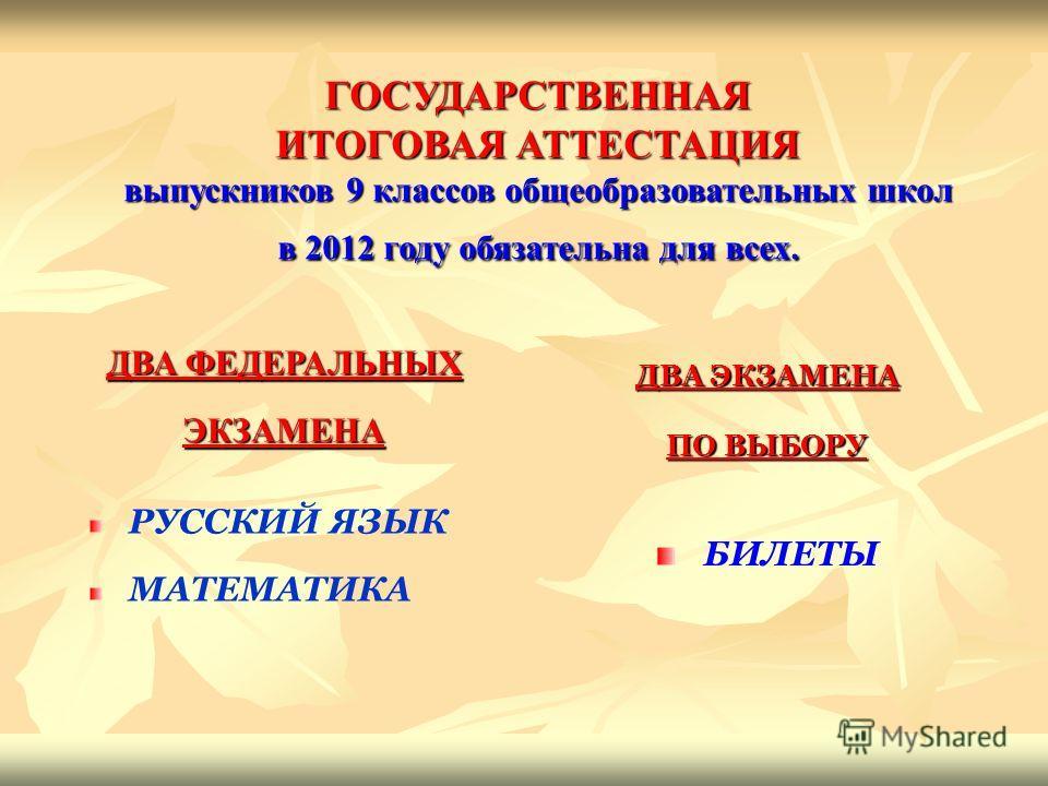 ГОСУДАРСТВЕННАЯ ИТОГОВАЯ АТТЕСТАЦИЯ выпускников 9 классов общеобразовательных школ в 2012 году обязательна для всех. ДВА ФЕДЕРАЛЬНЫХ ЭКЗАМЕНА РУССКИЙ ЯЗЫК МАТЕМАТИКА ДВА ЭКЗАМЕНА ПО ВЫБОРУ БИЛЕТЫ