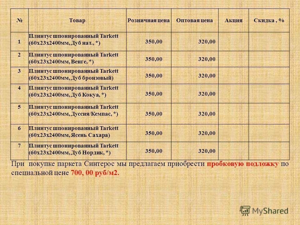 При покупке паркета Синтерос мы предлагаем приобрести пробковую подложку по специальной цене 700, 00 руб/м2. ТоварРозничная ценаОптовая ценаАкцияСкидка, % 1 Плинтус шпонированный Tarkett (60х23х2400мм, Дуб нат., *) 350,00 320,00 2Плинтус шпонированны