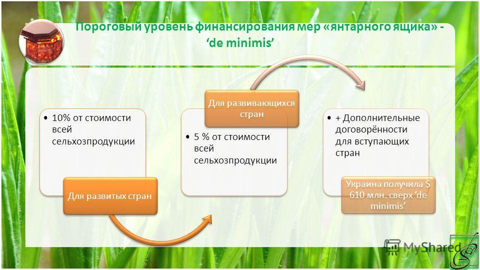 Пороговый уровень финансирования мер «янтарного ящика» - de minimis 10% от стоимости всей сельхозпродукции Для развитых стран 5 % от стоимости всей сельхозпродукции Для развивающихся стран + Дополнительные договорённости для вступающих стран Украина