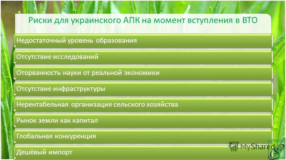 Риски для украинского АПК на момент вступления в ВТО Недостаточный уровень образованияОтсутствие исследованийОторванность науки от реальной экономикиОтсутствие инфраструктурыНерентабельная организация сельского хозяйстваРынок земли как капиталГлобаль