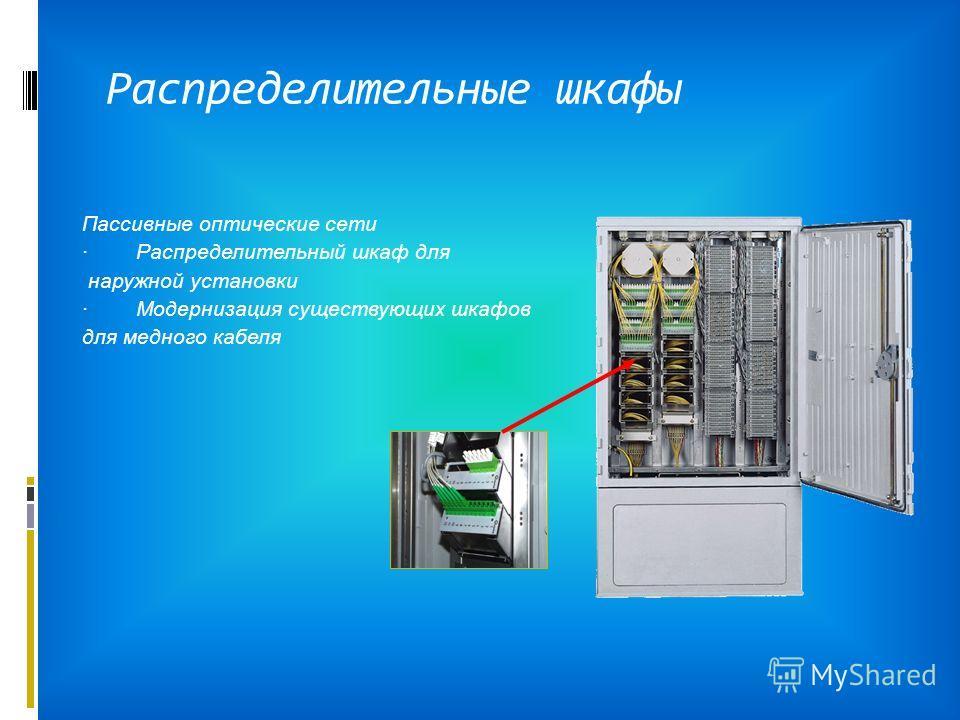 Распределительные шкафы Пассивные оптические сети · Распределительный шкаф для наружной установки · Модернизация существующих шкафов для медного кабеля