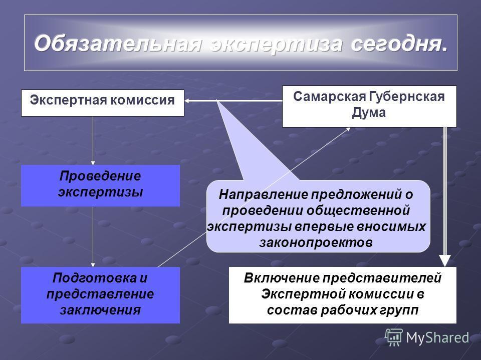 Экспертная комиссия Самарская Губернская Дума Проведение экспертизы Подготовка и представление заключения Включение представителей Экспертной комиссии в состав рабочих групп Направление предложений о проведении общественной экспертизы впервые вносимы