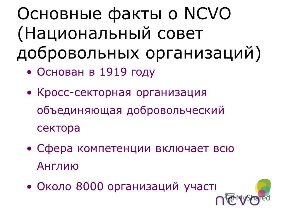 Основные факты о NCVO (Национальный совет добровольных организаций) Основан в 1919 году Кросс-секторная организация объединяющая добровольческий сектора Сфера компетенции включает всю Англию Около 8000 организаций участниц
