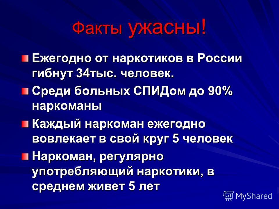 Факты ужасны! Ежегодно от наркотиков в России гибнут 34тыс. человек. Среди больных СПИДом до 90% наркоманы Каждый наркоман ежегодно вовлекает в свой круг 5 человек Наркоман, регулярно употребляющий наркотики, в среднем живет 5 лет