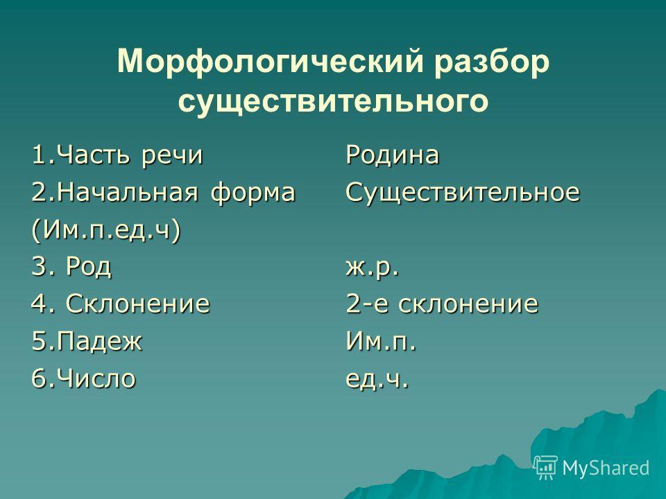 Морфологический разбор существительного 1.Часть речи 2.Начальная форма (Им.п.ед.ч) 3. Род 4. Склонение 5.Падеж6.ЧислоРодинаСуществительноеж.р. 2-е склонение Им.п.ед.ч.