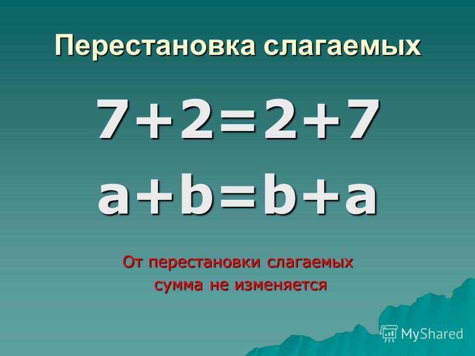 Перестановка слагаемых 7+2=2+7a+b=b+a От перестановки слагаемых сумма не изменяется сумма не изменяется