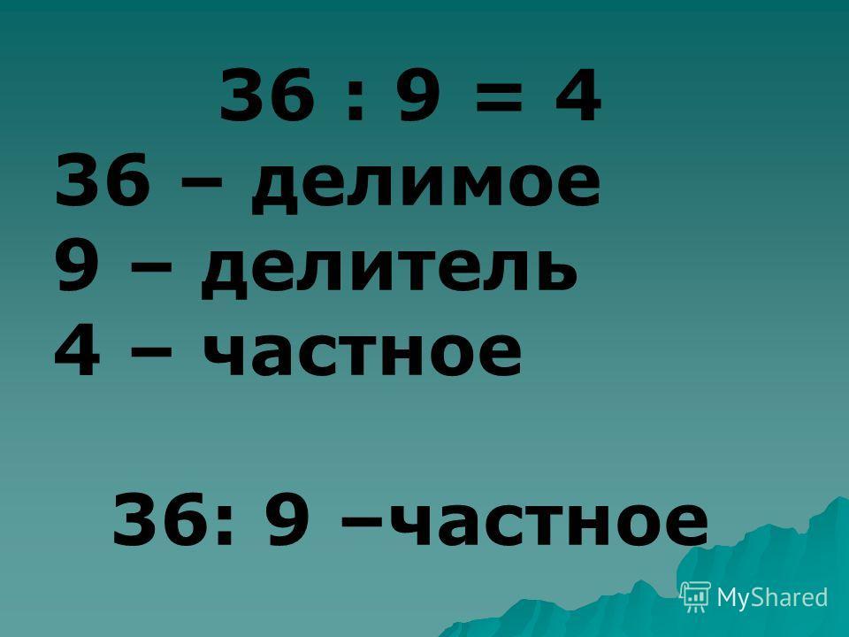 36 : 9 = 4 36 – делимое 9 – делитель 4 – частное 36: 9 –частное