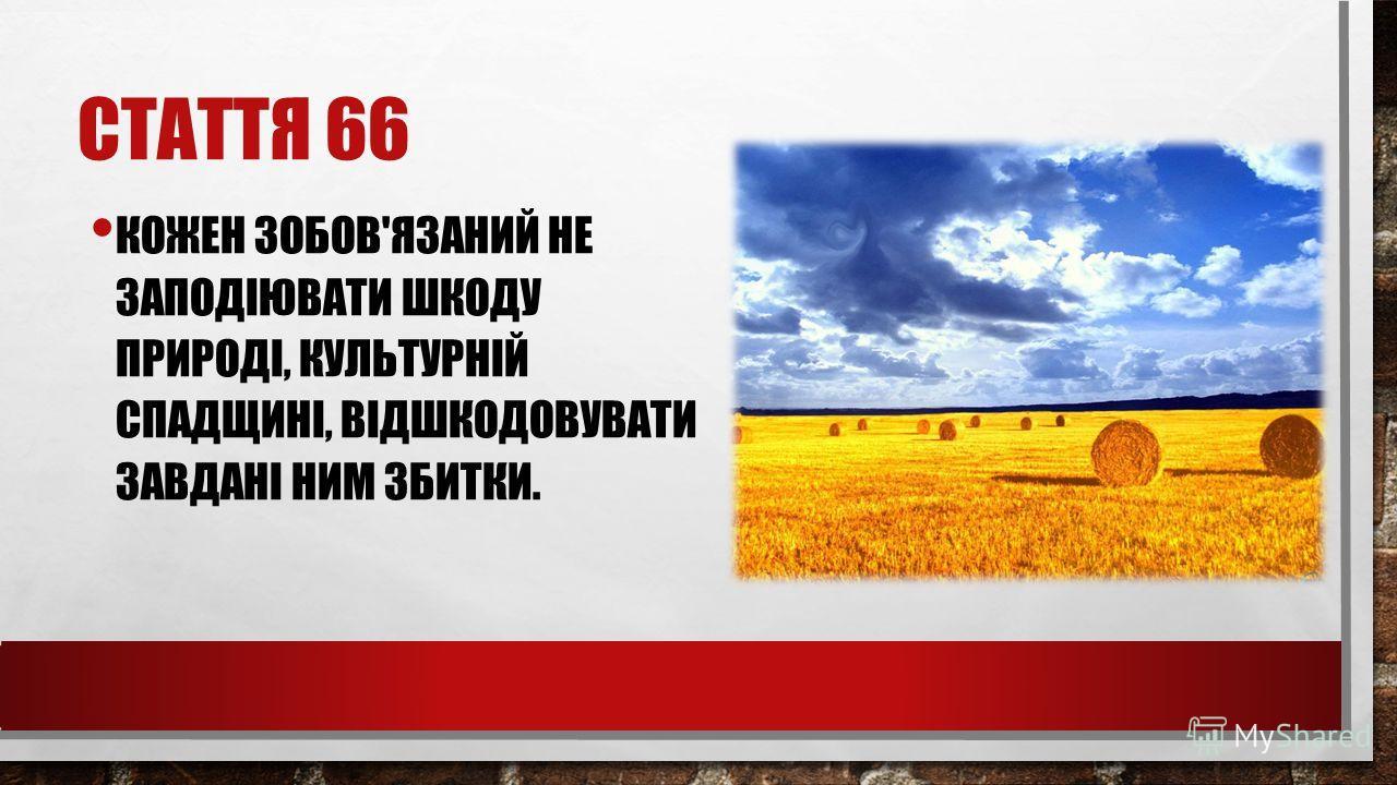 СТАТТЯ 66 КОЖЕН ЗОБОВ'ЯЗАНИЙ НЕ ЗАПОДІЮВАТИ ШКОДУ ПРИРОДІ, КУЛЬТУРНІЙ СПАДЩИНІ, ВІДШКОДОВУВАТИ ЗАВДАНІ НИМ ЗБИТКИ.
